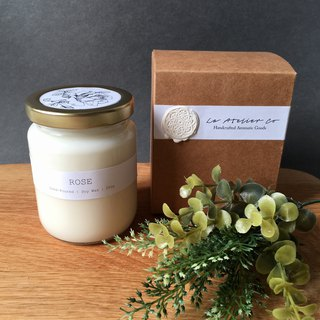 Hand-Poured Rose Scented Candle - 250g | Rustic Favor | Gift