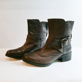 Painting # 8021 || Leather Hutuo field boots hippie coffee ||