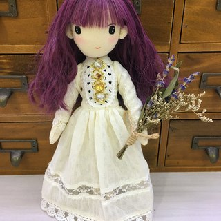 Handmade Doll- Lavender Girl in lace dress