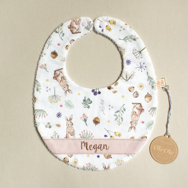 繡名 客製名字 圍兜 口水巾 口水肩 彌月禮盒 寶寶 可愛小兔子