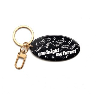 A. Strawberry Sleeping Forest Elliptical Acrylic Key Ring - Night