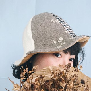 Design Handmade - Coffee Camel Plaid Small White Flower Embroidered Hill Cap Fisherman Hat