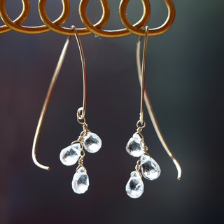 14kgf- white topaz half curl pierced earrings
