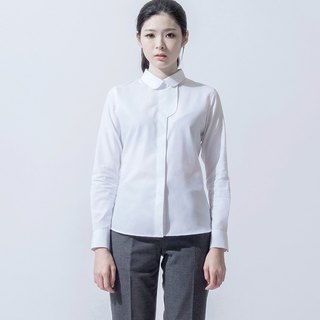 Female change placket shirt BLOUSE WITH CURVE FRONT FLY
