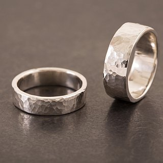 Hammered Head Ring Ring - Silver - Hammerfish / Tree