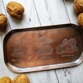 【daily. Handmade red copper dish / platter - rustic wind fruits and vegetables