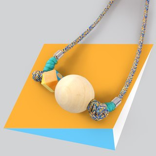 Puppets Big Woodball Series Blue and green pattern rope with a large ball + pattern hexagonal wood beads Wood necklace Necklace