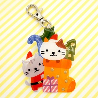 Meow original handmade Xmas Christmas limited edition Christmas cat cat keyring - limited period