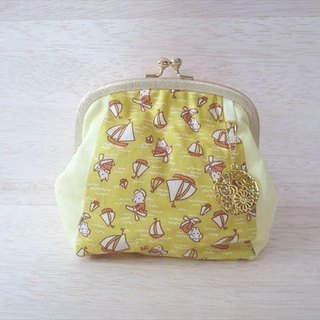 Porcupine pouch M Dog and Yacht Yellow