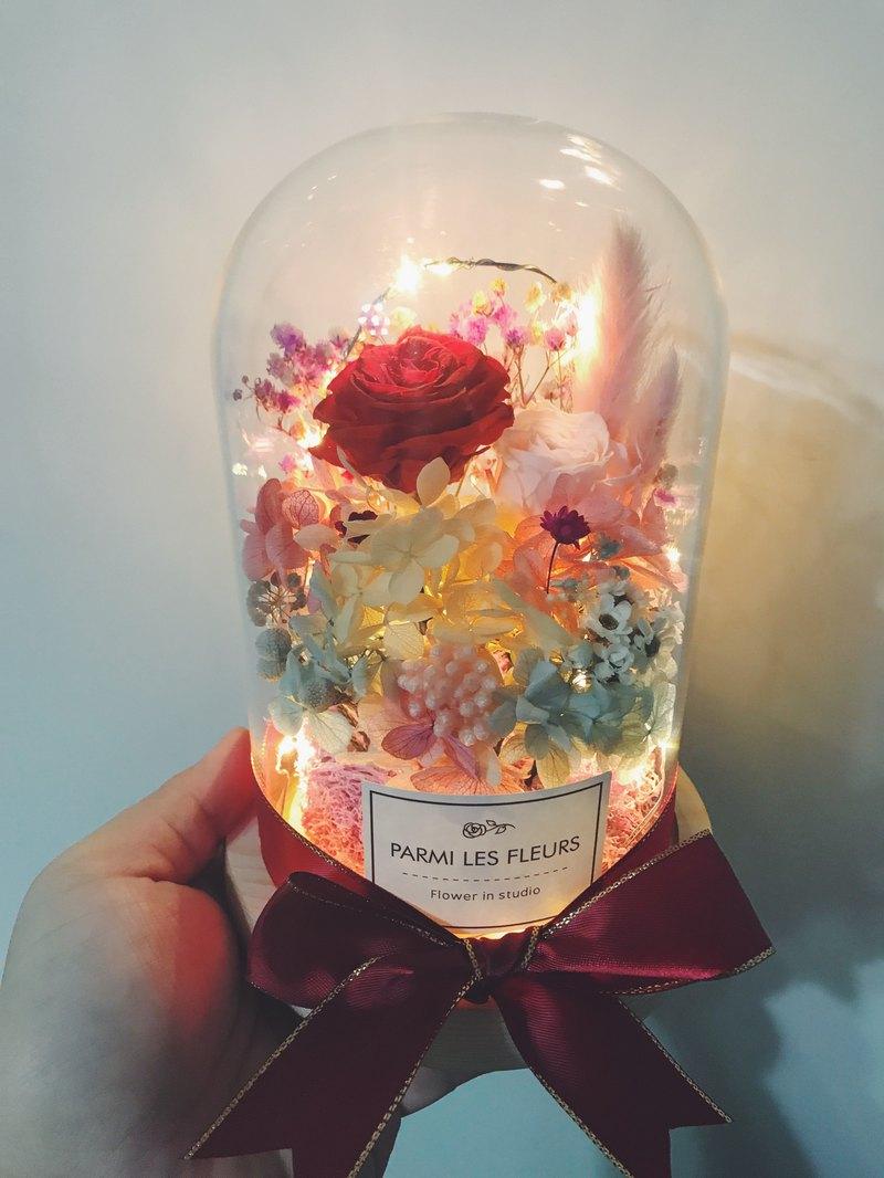 母親節/不凋玫瑰花/燈串玻璃罩/可客製