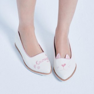 [Love and courage] Asymmetric cat heightening shoes _ pink girl heart