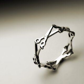 Small scissors silver ring