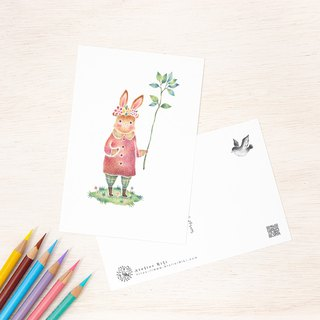 "4 pieces set. Like a picture book. Postcard ""Rabbit's Saloni"" PC-238"