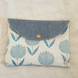 [Good to close up] Sanitary cotton bag / sundries bag (blue and green flowers)