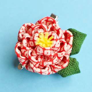 Camellia hair ornament with leaf polka dots