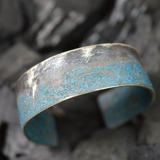 2cm width sterling silver bracelet with a unique patina finishing - Handmade in Spain