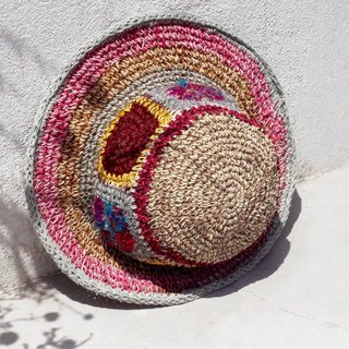 Valentine's Day gift limited a hand-woven cotton / cotton hat / weaving hat / fisherman hat / straw hat / straw hat - bright color yarn color line