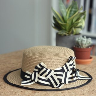 Stripe Ribbon Bow Straw Boater Hat