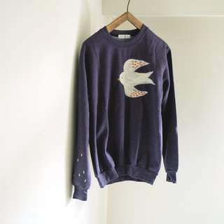 矬 矬 swallow handmade wool felt University T (blue purple)