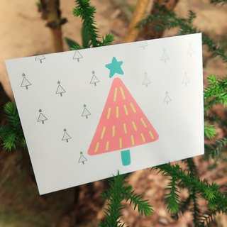 Postcard _Merry Xmas # Christmas tree # hot silver black eye bag illustration