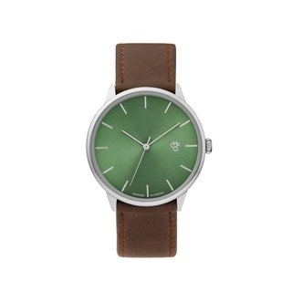 Khorshid series silver and green dial brown leather watch