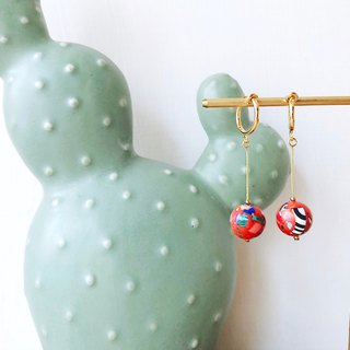[endorphin] Candy Stone Beads Drop Earrings - Lava