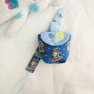 Surfing the dog. Pacifier storage bag + pacifier chain set (up to 40 embroidery name)