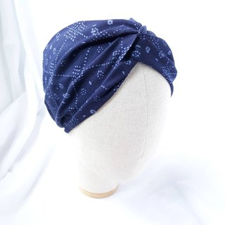 Blue-blue pattern headband scarf wide hair band