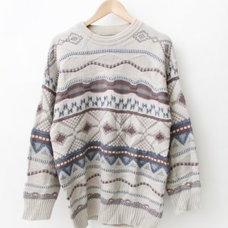 [] RE1229SW091 Oufen gray totem national wind loose knit male and female models vintage sweater neutral
