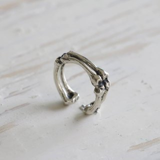 Bone Ring Skeleton Gothic Vintage Adjustable Sterling Silver Oxidized gift punk