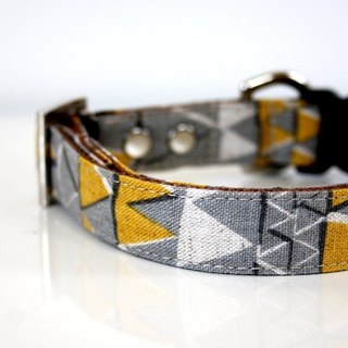 Cotton Linen aztec Triangle Dog Collar - gray, mustard - Silver