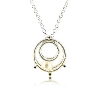 "925 Silver Bamboo Scaffolding Pearl Pendant w/ 18"" Necklace"