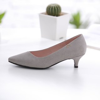 Athena-Extremely Elegant Grey-Serpentine Pointed Leather Low Heels