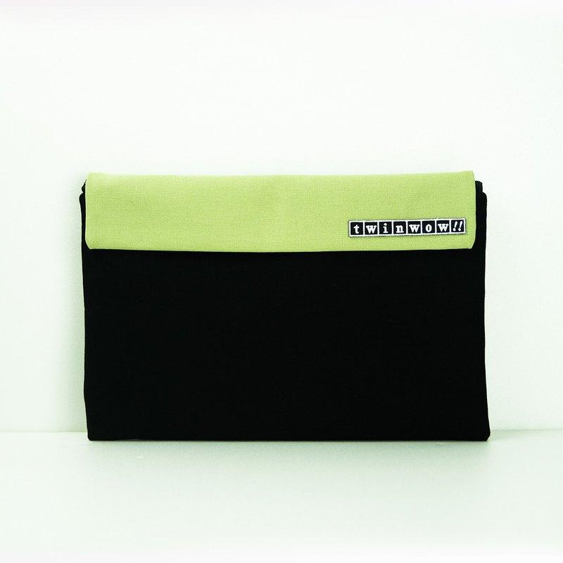 時尚筆記 - 細緻質感平板包 - 時尚黑綠