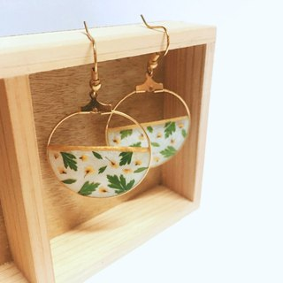 Flower flower hollow 24K gold ear hook