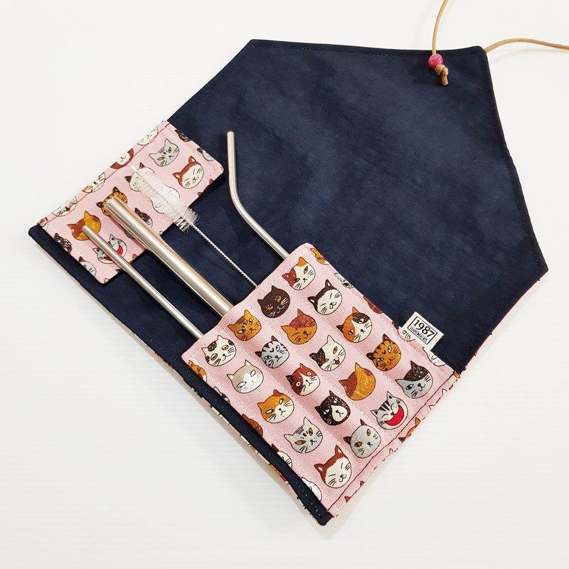 【小花貓-粉】環保餐具袋 餐具套 餐具包 聖誕交換禮物 情人節