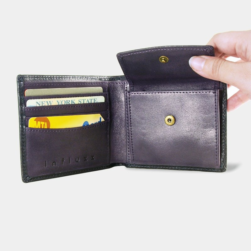 Influxx Montage Leather Bi-fold Compact Wallet with Coin Pouch - Purple Amethyst