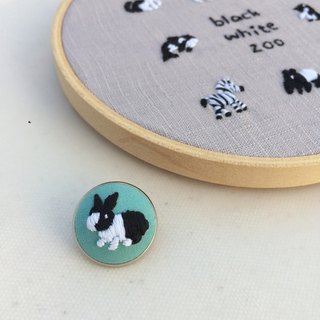 Rabbit black and white zoo hand embroidery pin