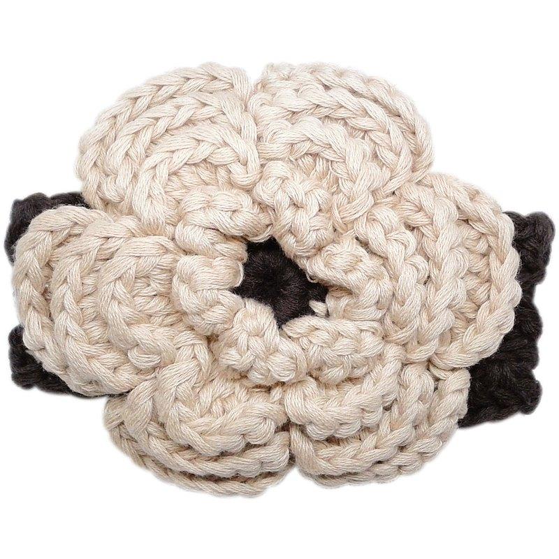 多重瓣卡其色大花 手工針織花朵純棉髮帶Beige