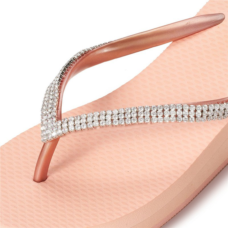 女款6cm厚底夾腳拖鞋-頂級首飾工藝水鑽-鋯石鑽鍊 粉金