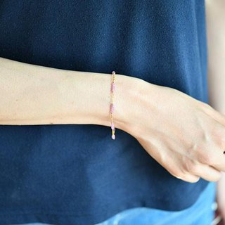 Pink sapphire bracelet enhancing charisma, victory luck, money luck, etc. September birthstone 14 KGF version