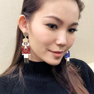 Nutcracker Dangle Earring - Red and Blue