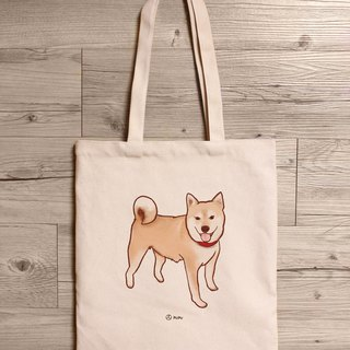 Shiba Inu - standing - shoulder canvas bag - Taiwan cotton linen - bag - fly planet