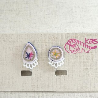 "Hand embroidery earring""Spring color drop,circle 2"""
