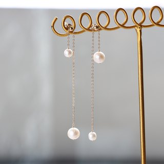 14 kgf - Adjustable twin pearl pierced earrings