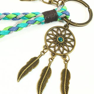 Paris*Le Bonheun. Happy hand made. Diamond-studded dream catcher. Braided key ring