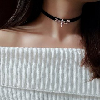 Monde des Insects series 蜻蜓 sterling silver plated collar