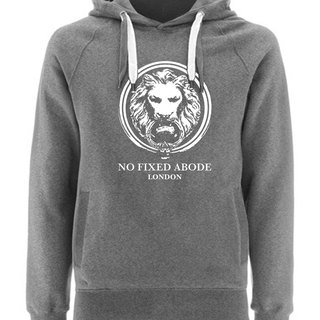 NO FIXED ABODE Hoodie Lion Front - Grey Unisex