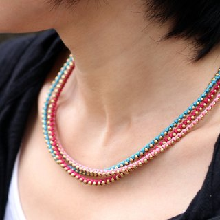 Girly Sweet Beaded Necklaces Brass Woven Pink Cute Necklaces Stud Rocker