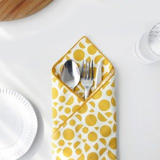 Iconic cotton square handkerchief - geometric yellow, ICO89186